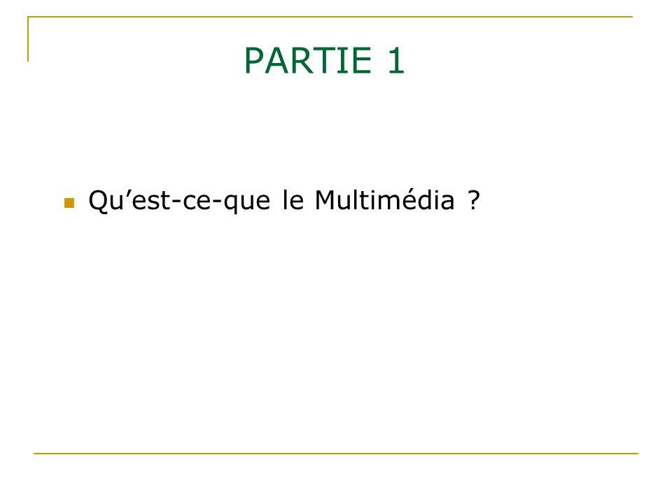 PARTIE 1 Qu'est-ce-que le Multimédia ?