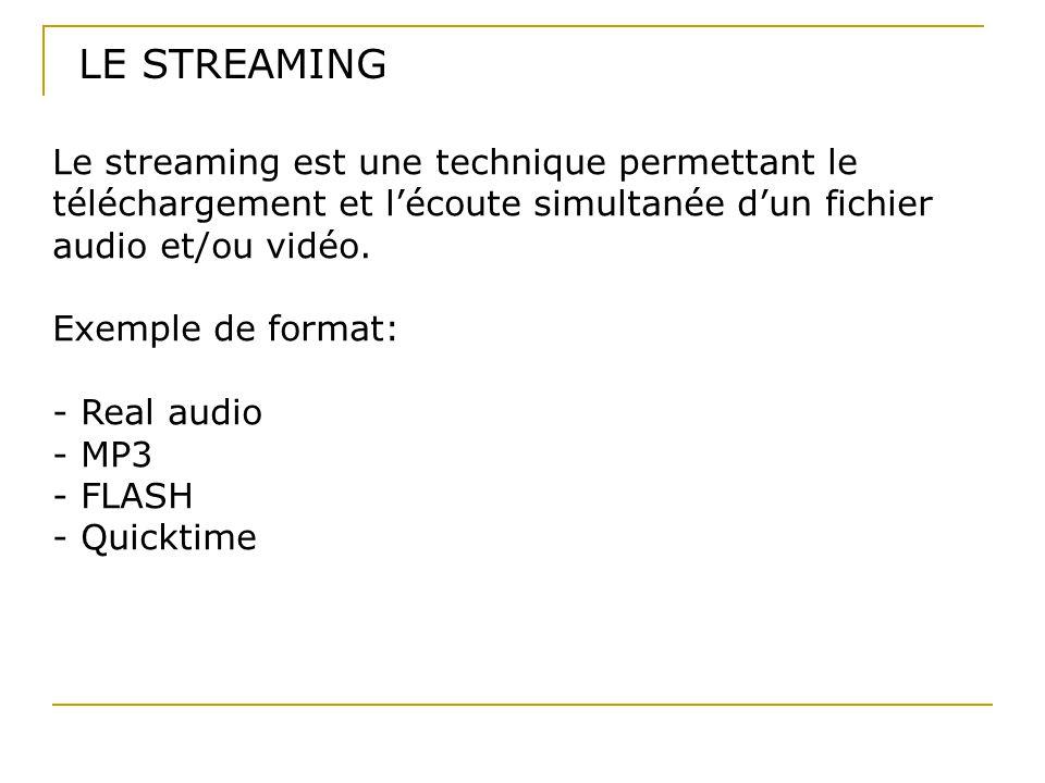 LE STREAMING Le streaming est une technique permettant le téléchargement et l'écoute simultanée d'un fichier audio et/ou vidéo. Exemple de format: - R