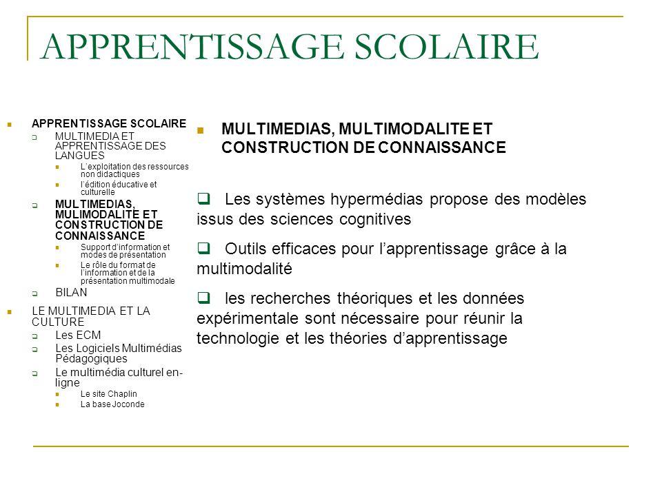 APPRENTISSAGE SCOLAIRE MULTIMEDIAS, MULTIMODALITE ET CONSTRUCTION DE CONNAISSANCE APPRENTISSAGE SCOLAIRE  MULTIMEDIA ET APPRENTISSAGE DES LANGUES L'e