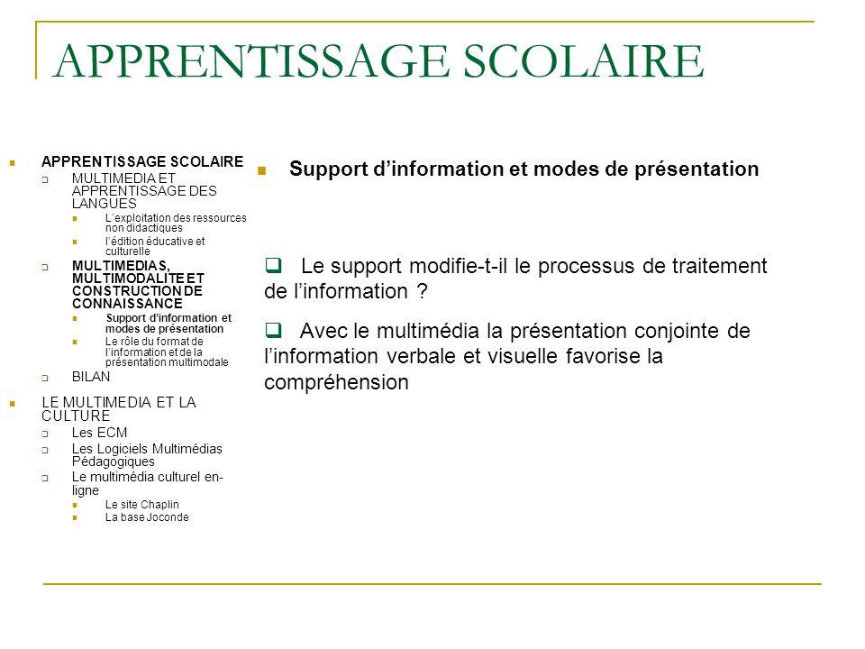 APPRENTISSAGE SCOLAIRE Support d'information et modes de présentation APPRENTISSAGE SCOLAIRE  MULTIMEDIA ET APPRENTISSAGE DES LANGUES L'exploitation