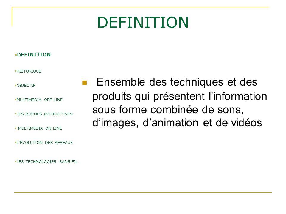 DEFINITION Ensemble des techniques et des produits qui présentent l'information sous forme combinée de sons, d'images, d'animation et de vidéos  DEFI