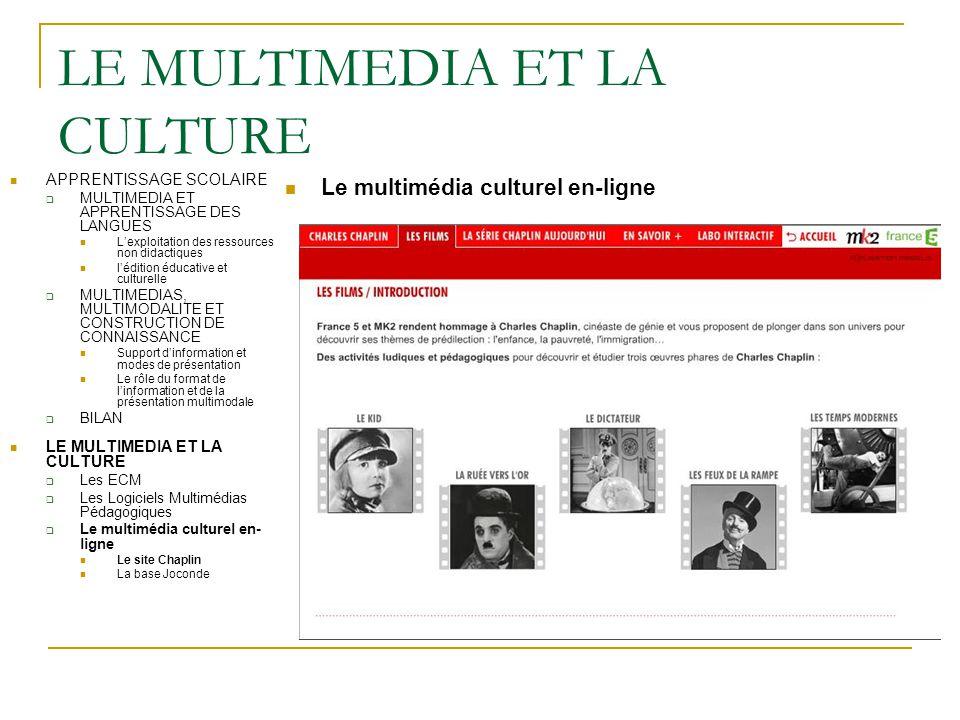 LE MULTIMEDIA ET LA CULTURE Le multimédia culturel en-ligne APPRENTISSAGE SCOLAIRE  MULTIMEDIA ET APPRENTISSAGE DES LANGUES L'exploitation des ressou