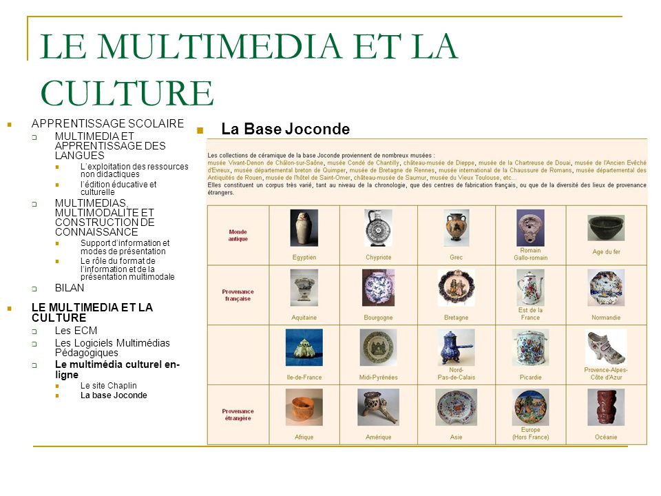 LE MULTIMEDIA ET LA CULTURE La Base Joconde APPRENTISSAGE SCOLAIRE  MULTIMEDIA ET APPRENTISSAGE DES LANGUES L'exploitation des ressources non didacti