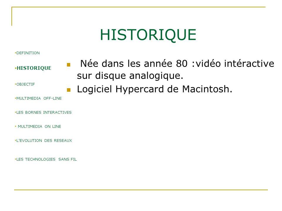 HISTORIQUE Née dans les année 80 :vidéo intéractive sur disque analogique. Logiciel Hypercard de Macintosh.  DEFINITION  HISTORIQUE  OBJECTIF  MUL