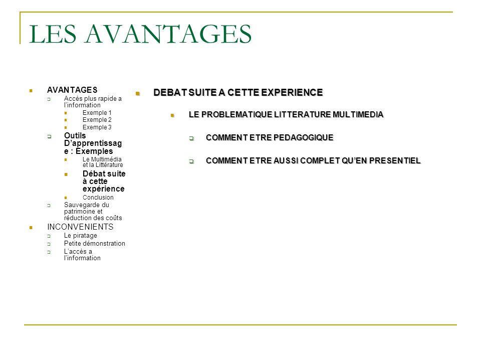 LES AVANTAGES AVANTAGES  Accès plus rapide a l'information Exemple 1 Exemple 2 Exemple 3  Outils D'apprentissag e : Exemples Le Multimédia et la Lit
