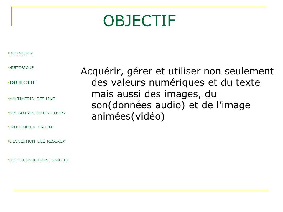 MULTIMEDIA OFF-LINE  1ère étape: le disque compact ou CD (1981)  2ème étape: le cdrom (compact disc Read Only Memory) (1985)  3ème étape: le cdrom Multimédia crée par Philips et sony(1986) capacité 700Mo  4ème étape: le DVD(Digital Vidéo disc) Gravure plus fine, capacité de 4.7 à 17 Go  DEFINITION  HISTORIQUE  OBJECTIF  MULTIMEDIA OFF-LINE  LES BORNES INTERACTIVES  MULTIMEDIA ON LINE  L'EVOLUTION DES RESEAUX  LES TECHNOLOGIES SANS FIL