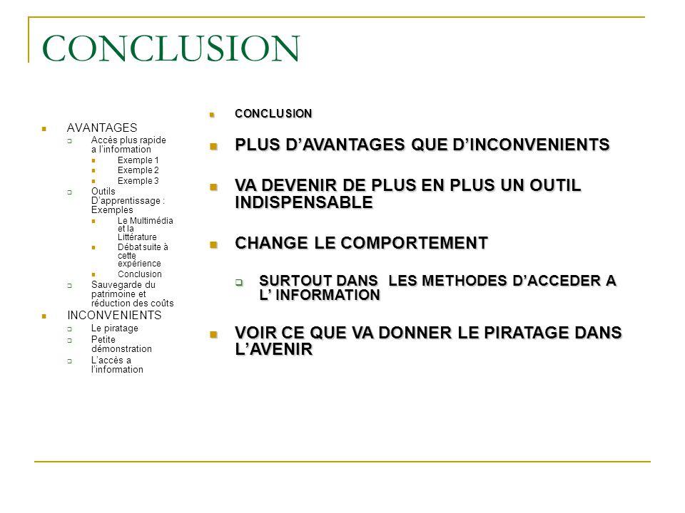 CONCLUSION AVANTAGES  Accès plus rapide a l'information Exemple 1 Exemple 2 Exemple 3  Outils D'apprentissage : Exemples Le Multimédia et la Littéra