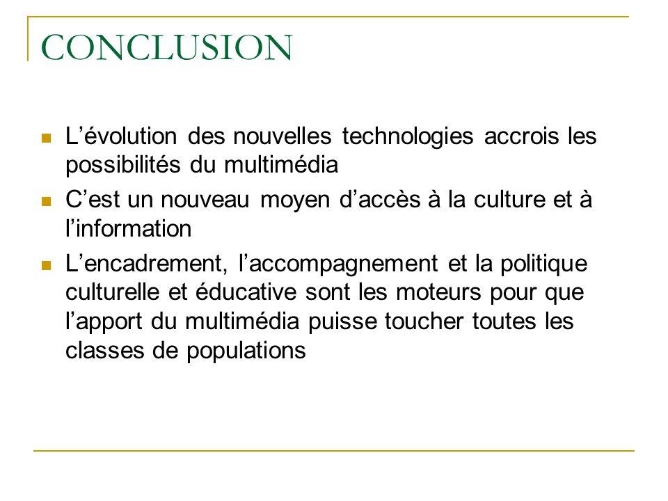 CONCLUSION L'évolution des nouvelles technologies accrois les possibilités du multimédia C'est un nouveau moyen d'accès à la culture et à l'informatio