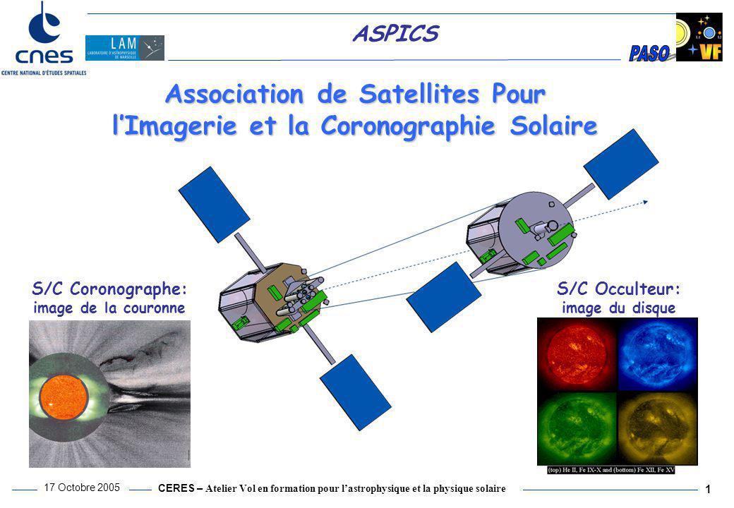 CERES – Atelier Vol en formation pour l'astrophysique et la physique solaire 17 Octobre 2005 1 ASPICS S/C Occulteur: image du disque S/C Coronographe: