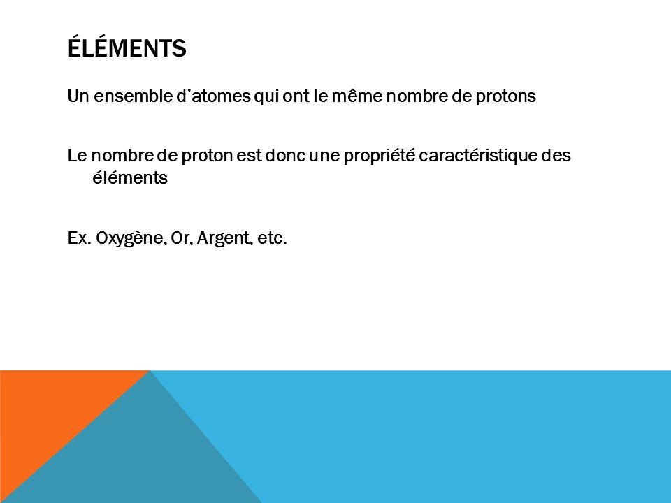ÉLÉMENTS Un ensemble d'atomes qui ont le même nombre de protons Le nombre de proton est donc une propriété caractéristique des éléments Ex. Oxygène, O