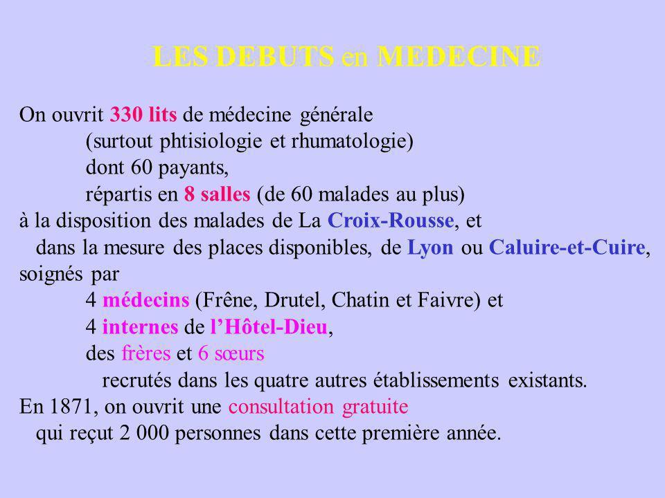 LES DEBUTS en MEDECINE On ouvrit 330 lits de médecine générale (surtout phtisiologie et rhumatologie) dont 60 payants, répartis en 8 salles (de 60 malades au plus) à la disposition des malades de La Croix-Rousse, et dans la mesure des places disponibles, de Lyon ou Caluire-et-Cuire, soignés par 4 médecins (Frêne, Drutel, Chatin et Faivre) et 4 internes de l'Hôtel-Dieu, des frères et 6 sœurs recrutés dans les quatre autres établissements existants.