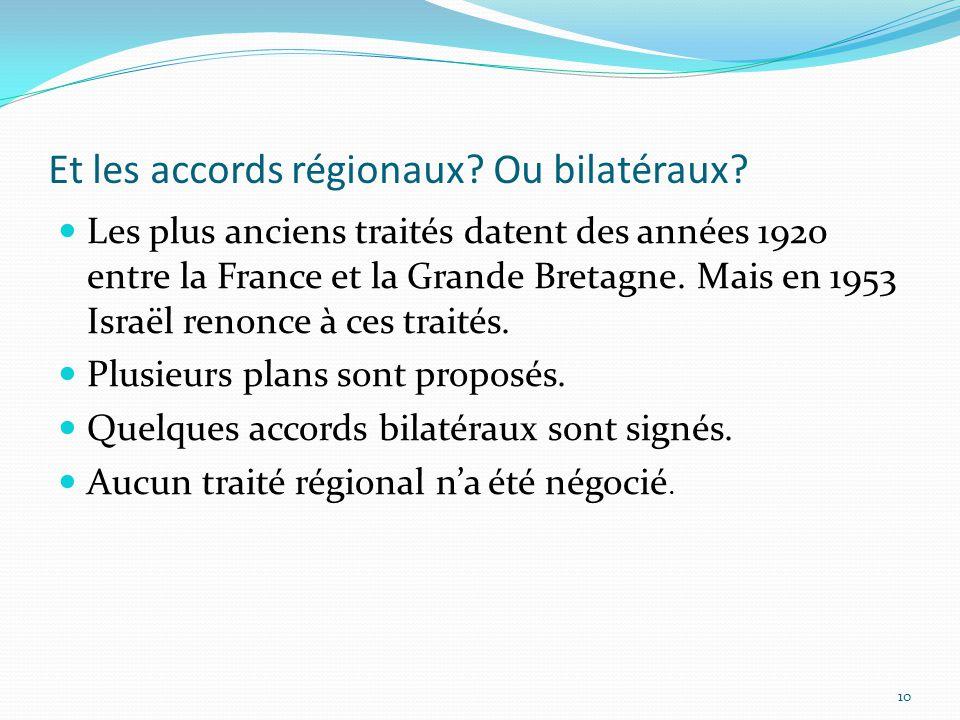 Et les accords régionaux? Ou bilatéraux? Les plus anciens traités datent des années 1920 entre la France et la Grande Bretagne. Mais en 1953 Israël re