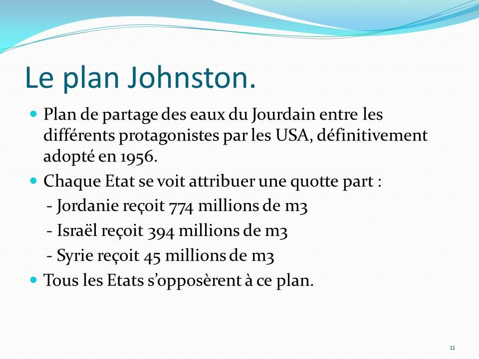 Le plan Johnston. Plan de partage des eaux du Jourdain entre les différents protagonistes par les USA, définitivement adopté en 1956. Chaque Etat se v