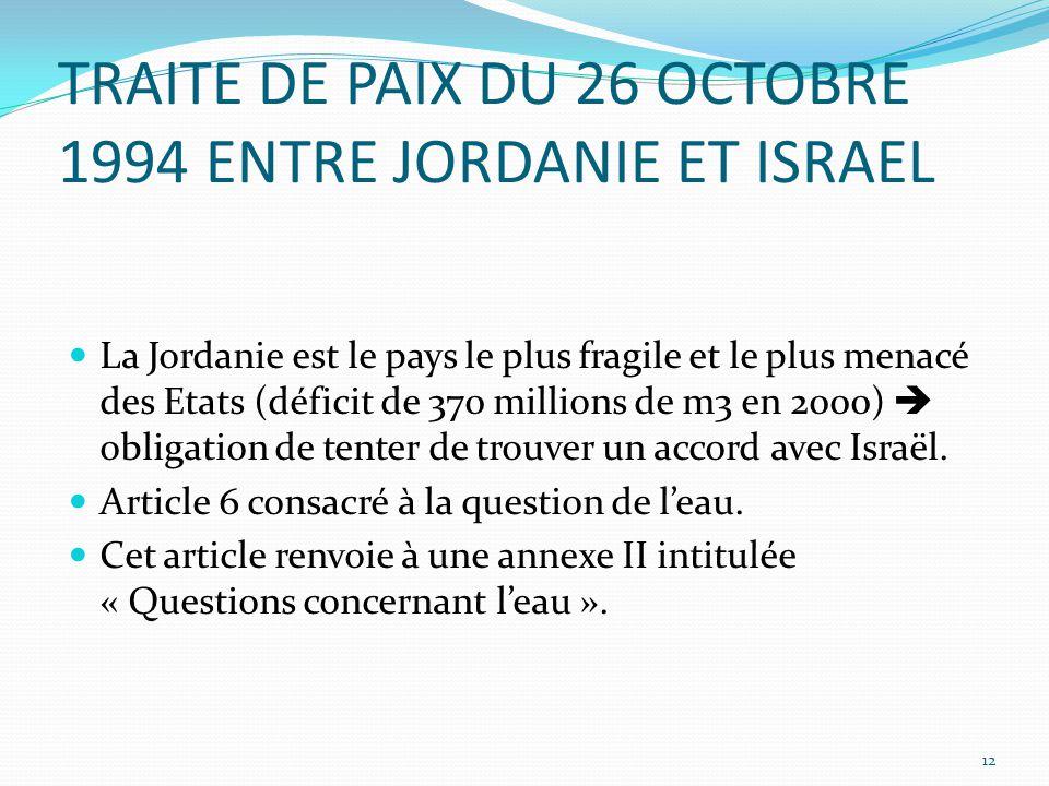 TRAITE DE PAIX DU 26 OCTOBRE 1994 ENTRE JORDANIE ET ISRAEL La Jordanie est le pays le plus fragile et le plus menacé des Etats (déficit de 370 million