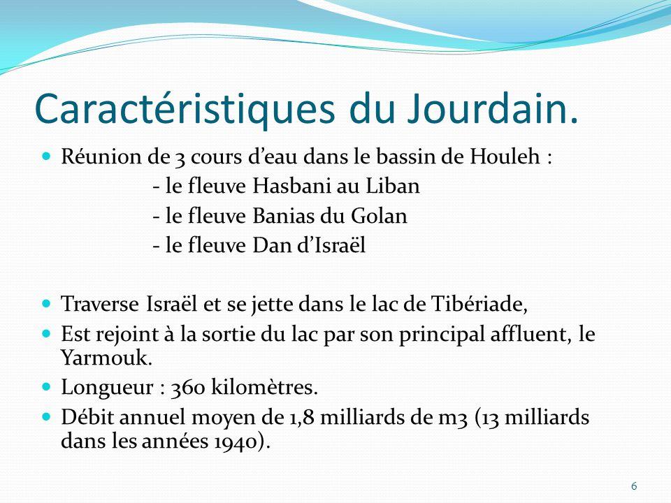 Caractéristiques du Jourdain. Réunion de 3 cours d'eau dans le bassin de Houleh : - le fleuve Hasbani au Liban - le fleuve Banias du Golan - le fleuve