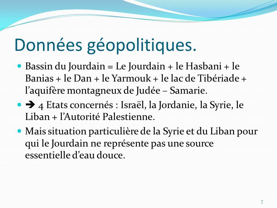 Données géopolitiques. Bassin du Jourdain = Le Jourdain + le Hasbani + le Banias + le Dan + le Yarmouk + le lac de Tibériade + l'aquifère montagneux d