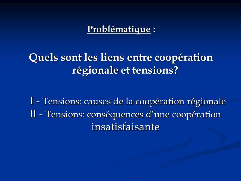 Problématique : Quels sont les liens entre coopération régionale et tensions? I - Tensions: causes de la coopération régionale II - Tensions: conséque
