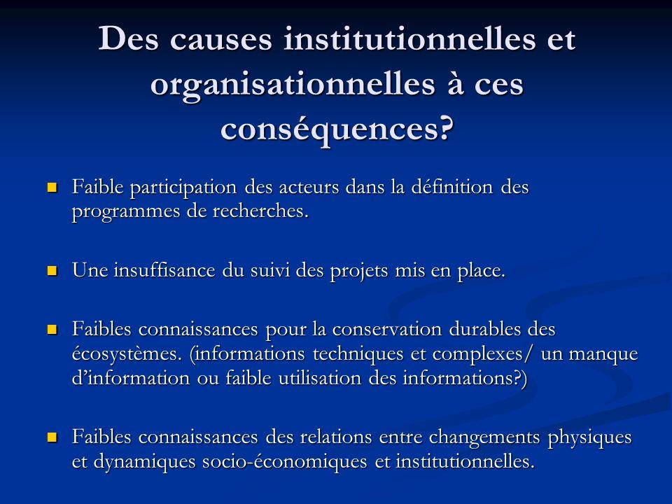 Des causes institutionnelles et organisationnelles à ces conséquences? Faible participation des acteurs dans la définition des programmes de recherche