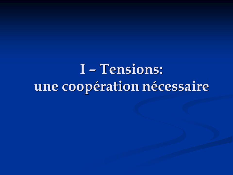 I – Tensions: une coopération nécessaire