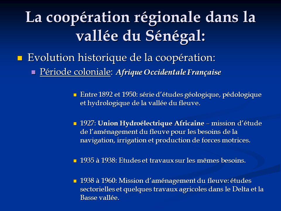 La coopération régionale dans la vallée du Sénégal: Evolution historique de la coopération: Evolution historique de la coopération: Période coloniale: