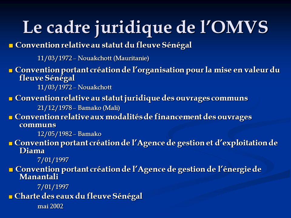 Le cadre juridique de l'OMVS ■ Convention relative au statut du fleuve Sénégal 11/03/1972 – Nouakchott (Mauritanie) 11/03/1972 – Nouakchott (Mauritani