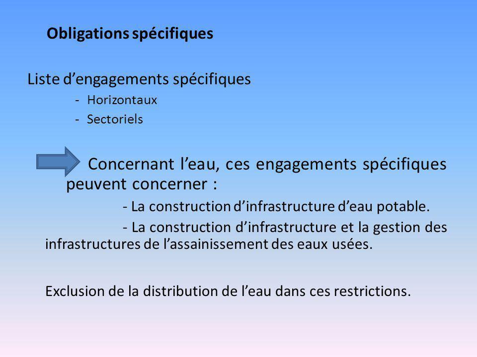 Obligations spécifiques Liste d'engagements spécifiques -Horizontaux -Sectoriels Concernant l'eau, ces engagements spécifiques peuvent concerner : - L