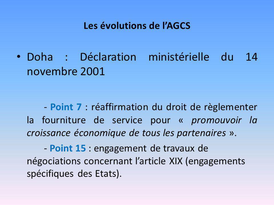 Les évolutions de l'AGCS Doha : Déclaration ministérielle du 14 novembre 2001 - Point 7 : réaffirmation du droit de règlementer la fourniture de servi