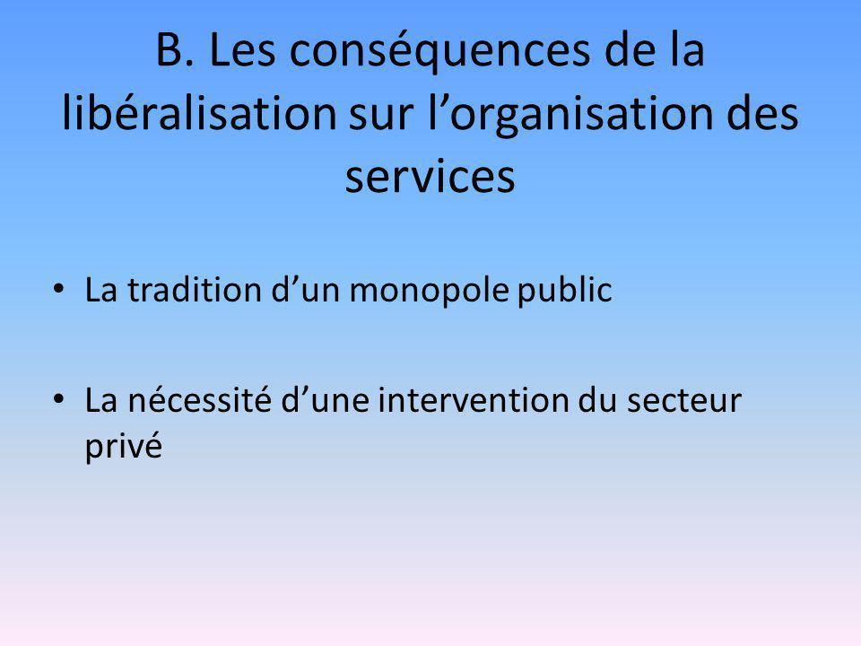 B. Les conséquences de la libéralisation sur l'organisation des services La tradition d'un monopole public La nécessité d'une intervention du secteur