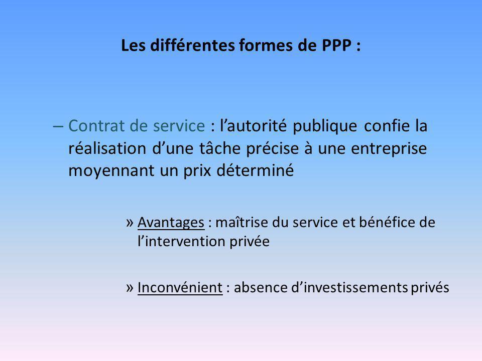 Les différentes formes de PPP : – Contrat de service : l'autorité publique confie la réalisation d'une tâche précise à une entreprise moyennant un pri