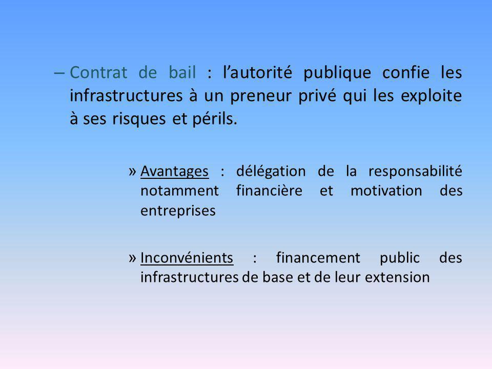 – Contrat de bail : l'autorité publique confie les infrastructures à un preneur privé qui les exploite à ses risques et périls. » Avantages : délégati