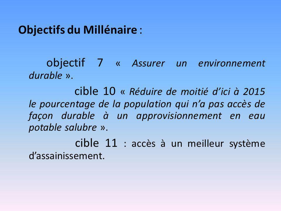 Objectifs du Millénaire : objectif 7 « Assurer un environnement durable ». cible 10 « Réduire de moitié d'ici à 2015 le pourcentage de la population q