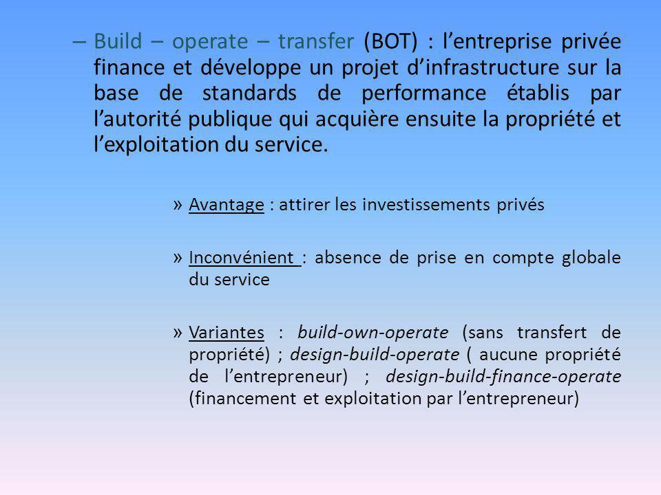 – Build – operate – transfer (BOT) : l'entreprise privée finance et développe un projet d'infrastructure sur la base de standards de performance établ