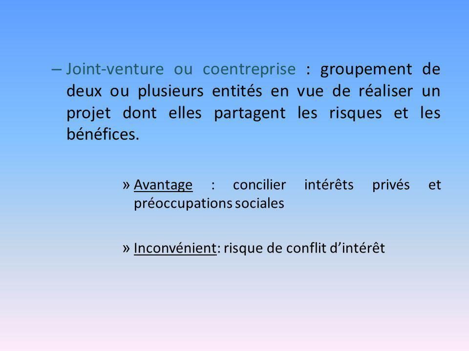 – Joint-venture ou coentreprise : groupement de deux ou plusieurs entités en vue de réaliser un projet dont elles partagent les risques et les bénéfic
