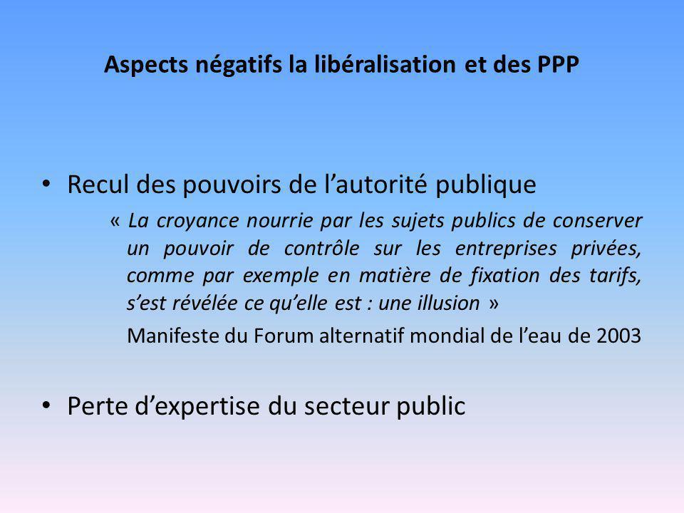 Aspects négatifs la libéralisation et des PPP Recul des pouvoirs de l'autorité publique « La croyance nourrie par les sujets publics de conserver un p