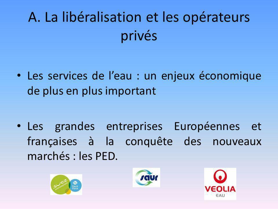 A. La libéralisation et les opérateurs privés Les services de l'eau : un enjeux économique de plus en plus important Les grandes entreprises Européenn