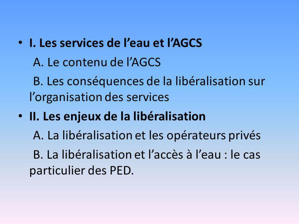 I. Les services de l'eau et l'AGCS A. Le contenu de l'AGCS B. Les conséquences de la libéralisation sur l'organisation des services II. Les enjeux de