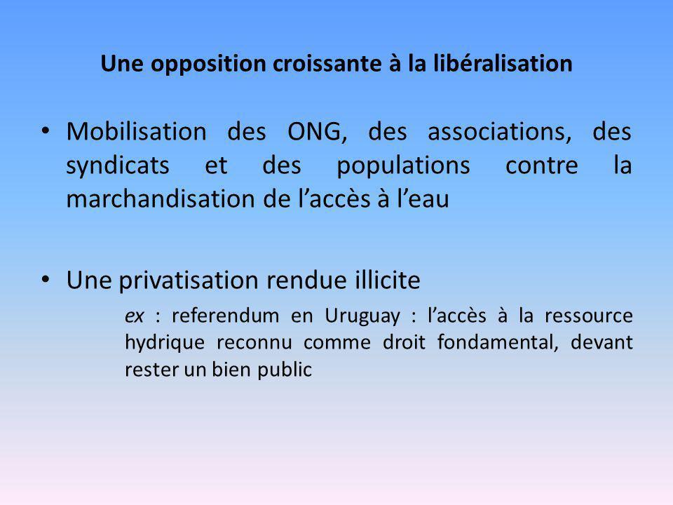 Une opposition croissante à la libéralisation Mobilisation des ONG, des associations, des syndicats et des populations contre la marchandisation de l'
