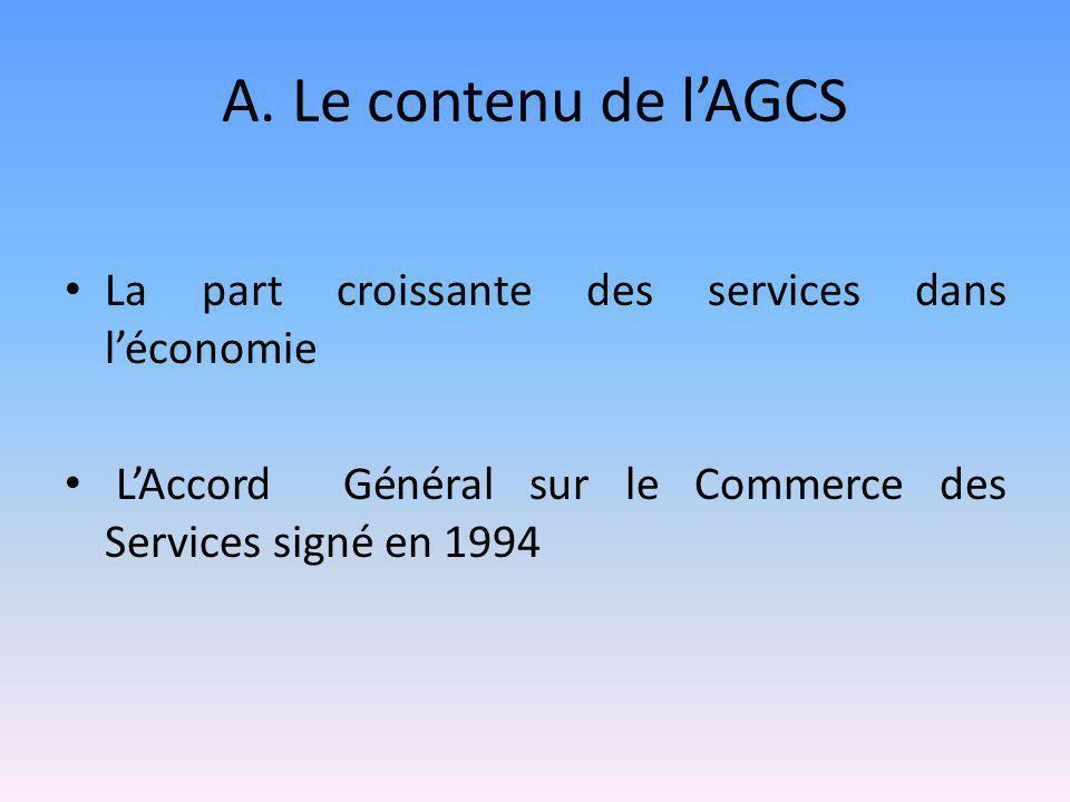 A. Le contenu de l'AGCS La part croissante des services dans l'économie L'Accord Général sur le Commerce des Services signé en 1994