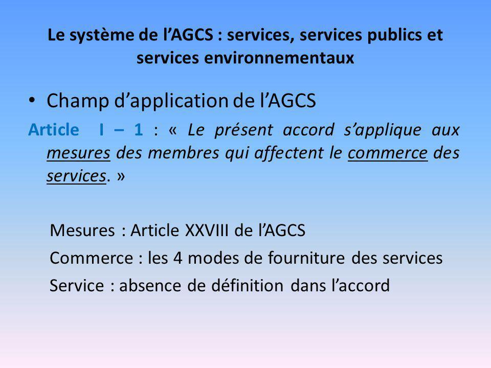 Le système de l'AGCS : services, services publics et services environnementaux Champ d'application de l'AGCS Article I – 1 : « Le présent accord s'app