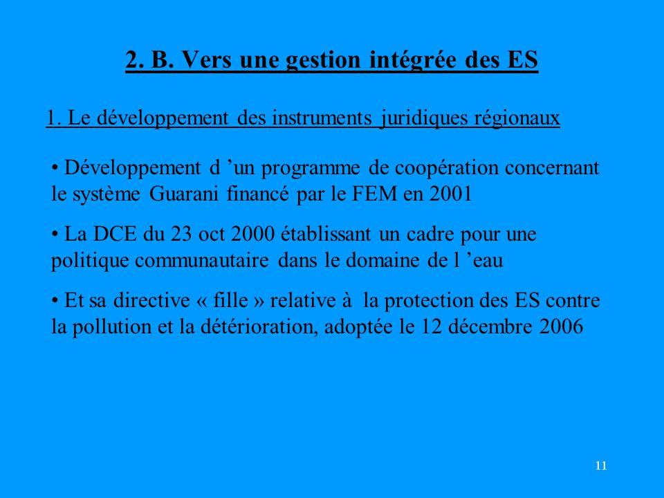 11 2.B. Vers une gestion intégrée des ES 1.