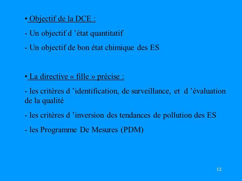 12 Objectif de la DCE : - Un objectif d 'état quantitatif - Un objectif de bon état chimique des ES La directive « fille » précise : - les critères d 'identification, de surveillance, et d 'évaluation de la qualité - les critères d 'inversion des tendances de pollution des ES - les Programme De Mesures (PDM)