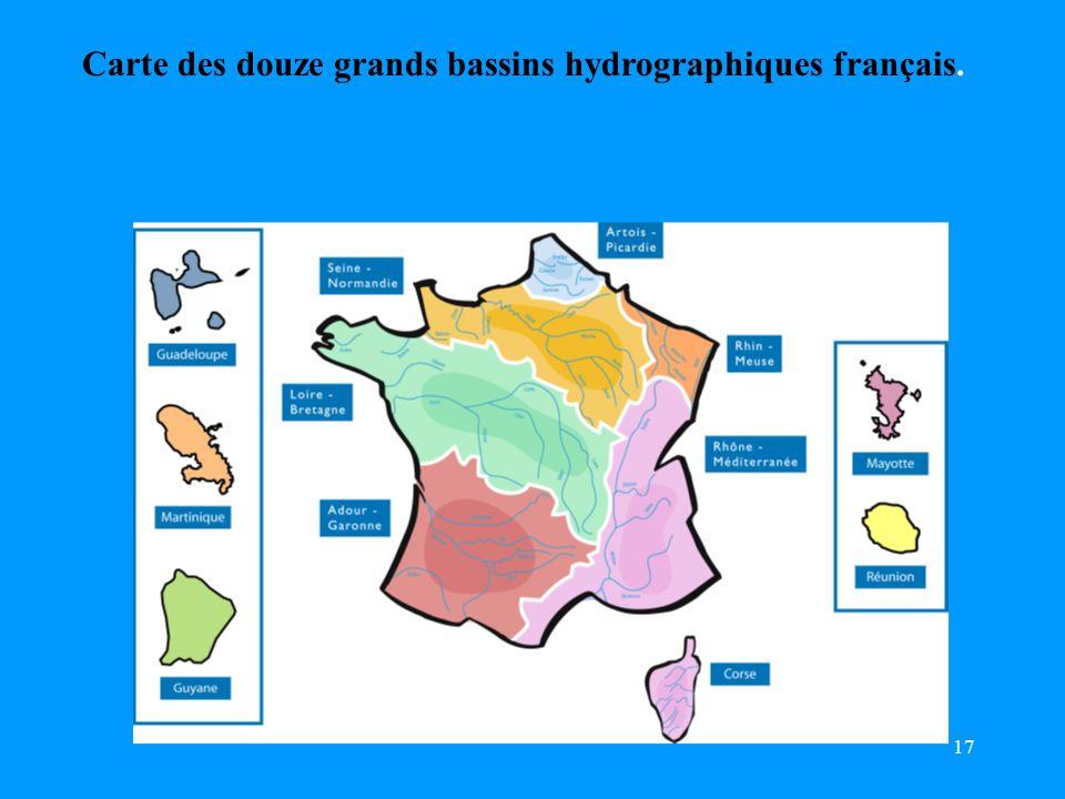 17 Carte des douze grands bassins hydrographiques français.