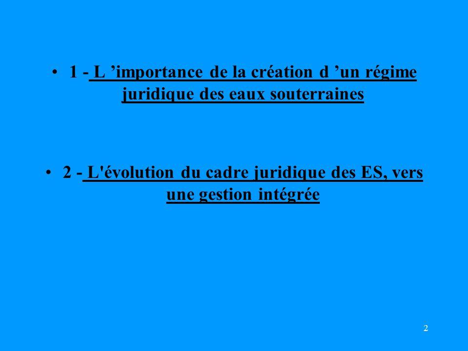 2 1 - L 'importance de la création d 'un régime juridique des eaux souterraines 2 - L évolution du cadre juridique des ES, vers une gestion intégrée