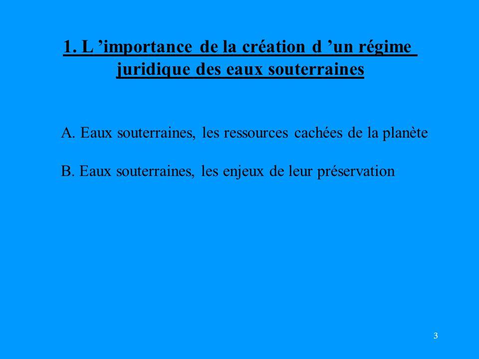 3 1.L 'importance de la création d 'un régime juridique des eaux souterraines A.