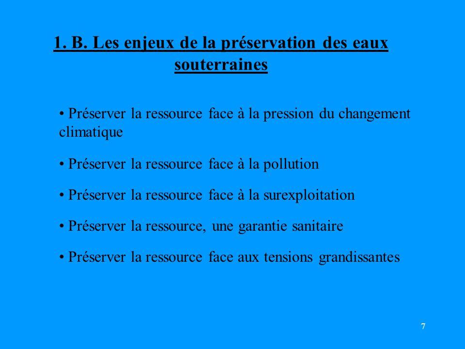 7 Préserver la ressource face à la pression du changement climatique Préserver la ressource, une garantie sanitaire Préserver la ressource face à la pollution Préserver la ressource face à la surexploitation Préserver la ressource face aux tensions grandissantes 1.