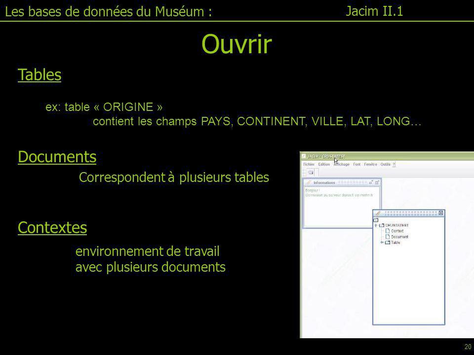 Tables ex: table « ORIGINE » contient les champs PAYS, CONTINENT, VILLE, LAT, LONG… Correspondent à plusieurs tables environnement de travail avec plusieurs documents Documents Contextes Jacim II.1 Les bases de données du Muséum : Ouvrir 20