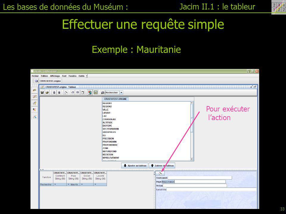 Jacim II.1 : le tableur Les bases de données du Muséum : Effectuer une requête simple Exemple : Mauritanie Pour exécuter l'action 33