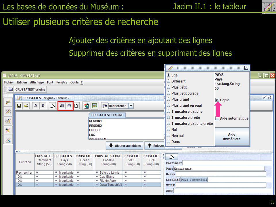 Jacim II.1 : le tableur Les bases de données du Muséum : Utiliser plusieurs critères de recherche Ajouter des critères en ajoutant des lignes Supprimer des critères en supprimant des lignes 39