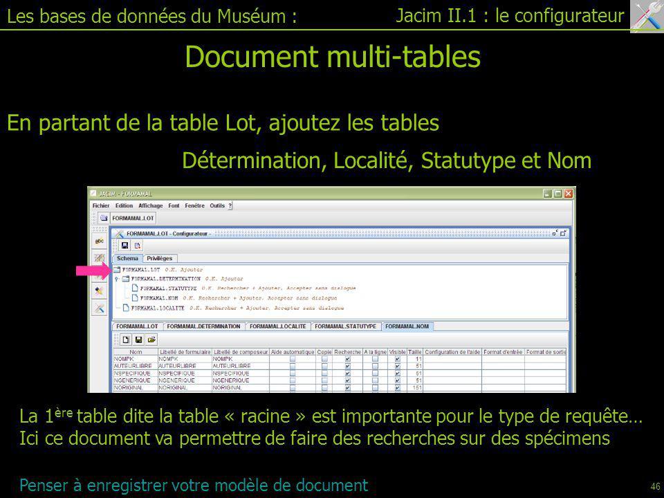 Jacim II.1 : le configurateur Les bases de données du Muséum : Document multi-tables En partant de la table Lot, ajoutez les tables Détermination, Localité, Statutype et Nom La 1 ère table dite la table « racine » est importante pour le type de requête… Ici ce document va permettre de faire des recherches sur des spécimens Penser à enregistrer votre modèle de document 46