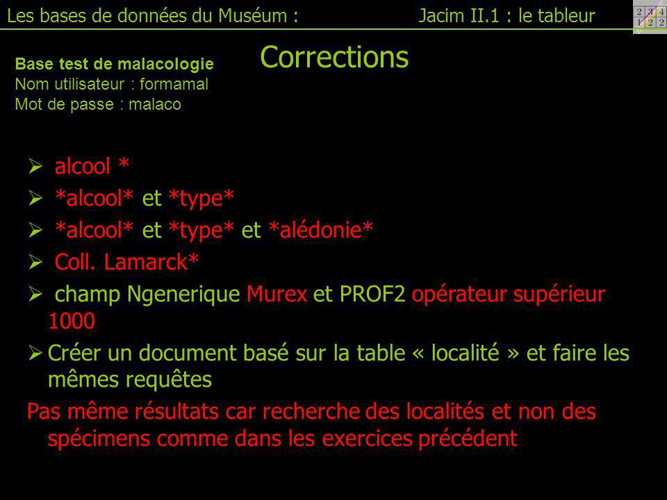 Jacim II.1 : le tableurLes bases de données du Muséum : Corrections  alcool *  *alcool* et *type*  *alcool* et *type* et *alédonie*  Coll.